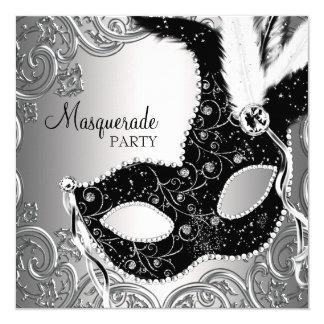 """Fiesta negro de plata de la mascarada de la invitación 5.25"""" x 5.25"""""""