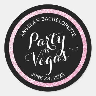 Fiesta negro del brillo del rosa de n en Vegas Pegatina Redonda