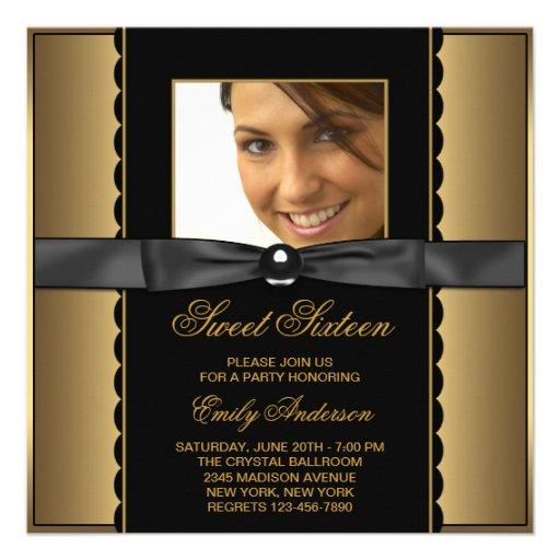 Fiesta negro del dulce 16 de la foto del oro invitacion personalizada