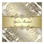 Fiesta negro elegante del damasco del oro invitacion personalizada