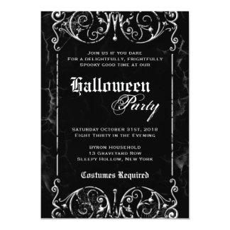 """Fiesta negro fantasmagórico de Halloween del Invitación 5"""" X 7"""""""