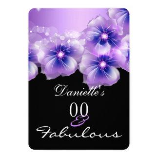 """Fiesta negro púrpura de las flores florales invitación 5"""" x 7"""""""