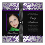 Fiesta negro púrpura del dulce 16 de la foto del d invitaciones personalizada