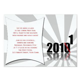 Fiesta negro, rojo, blanco de Noche Vieja de la Invitación 12,7 X 17,8 Cm