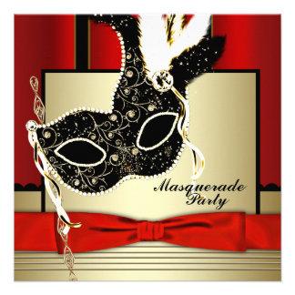 Fiesta negro rojo de la mascarada de la máscara ne invitacion personalizada