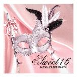 Fiesta negro rosado de la mascarada del dulce 16 comunicado