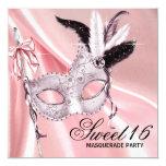 """Fiesta negro rosado de la mascarada del dulce 16 invitación 5.25"""" x 5.25"""""""