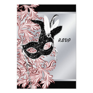 Fiesta negro rosado RSVP de la mascarada del negro