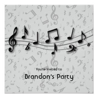 Fiesta negro y gris de las notas de la música invitación 13,3 cm x 13,3cm