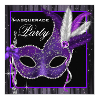 Fiesta negro y púrpura elegante de la mascarada invitaciones personales