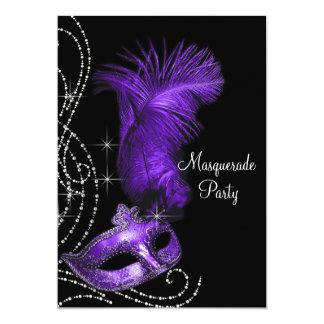 Fiesta negro y púrpura elegante de la mascarada anuncio