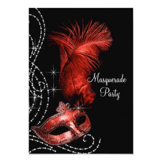 """Fiesta negro y rojo elegante de la mascarada invitación 5"""" x 7"""""""