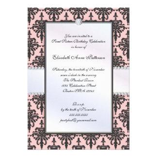 Fiesta negro y rosado intemporal del dulce 16 del  comunicado