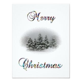 """Fiesta-Nieve de las Felices Navidad +Ilustración Invitación 4.25"""" X 5.5"""""""