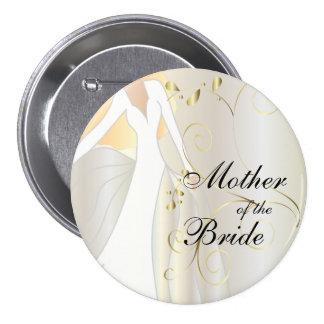 Fiesta nupcial elegante con acentos del oro pin redondo 7 cm