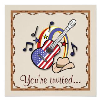 """Fiesta occidental del país con la guitarra invitación 5.25"""" x 5.25"""""""