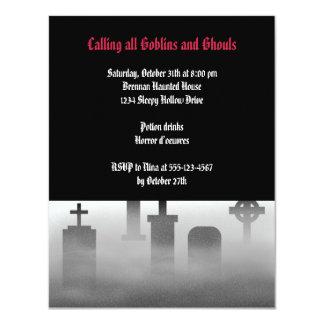 "Fiesta oscuro gótico espeluznante de Halloween de Invitación 4.25"" X 5.5"""