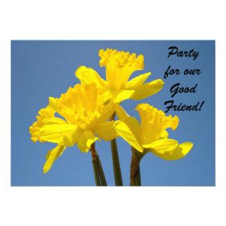 ¡Fiesta para el buen amigo Flor del narciso de la Invitación Personalizada