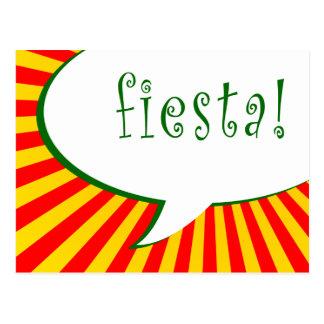 fiesta party : comic speech bubble postcard