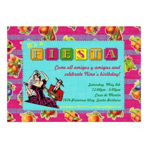 Fiesta Party Invitation - Castanet Dancer Magenta