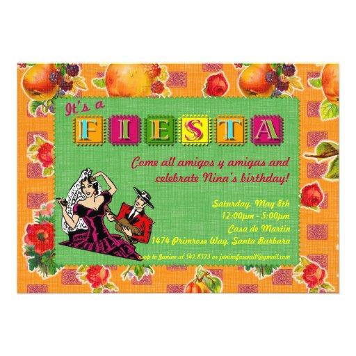 Fiesta Party Invitation - Castanet Dancer Orange
