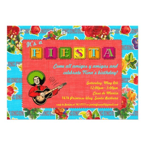 Fiesta Party Invitation - Mariachi Man