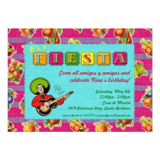 Fiesta Party Invitation - Mariachi Man Magenta