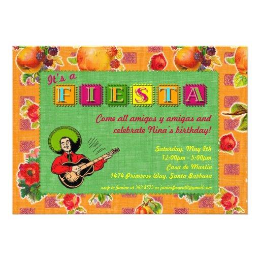 Fiesta Party Invitation - Mariachi Man Orange