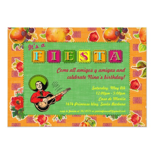 Fiesta Party Invitation - Mariachi Man Orange
