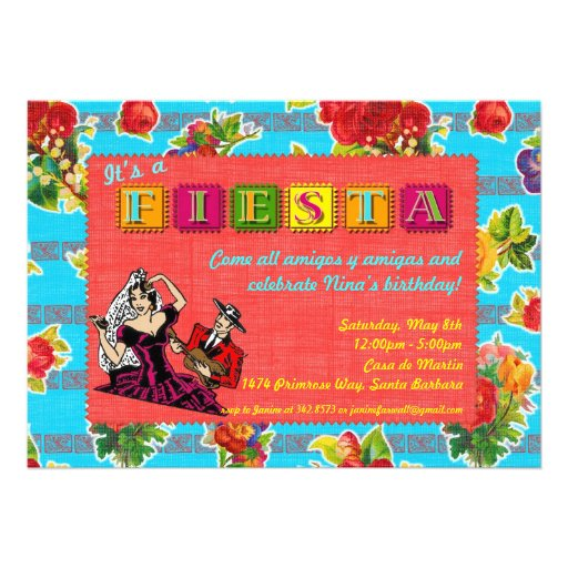 Fiesta Party Invitation - Mexican Castanet Dancer