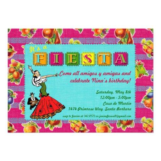 Fiesta Party Invitation - Mexican Dancer Magenta