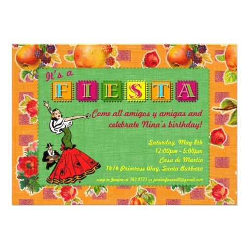 Fiesta Party Invitation - Mexican Dancer Orange