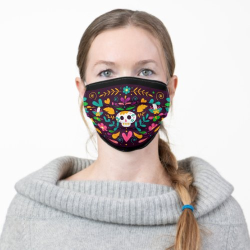 Fiesta party Mexican sugar skull floral pattern Adult Cloth Face Mask