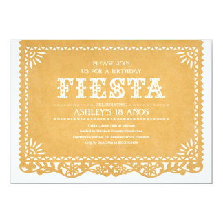 "Fiesta Party Papel Picado Invitations 5"" X 7"" Invitation Card"