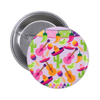 Fiesta Party Sombrero Cactus Limes Peppers Maracas 2 Inch Round Button