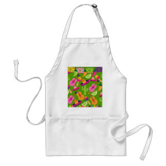 Fiesta Party Sombrero Cactus Limes Peppers Maracas Adult Apron