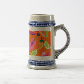 Fiesta Party Sombrero Cactus Limes Peppers Maracas Beer Stein