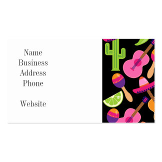 Fiesta Party Sombrero Cactus Limes Peppers Maracas Double-Sided Standard Business Cards (Pack Of 100)