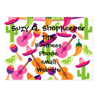 Fiesta Party Sombrero Cactus Limes Peppers Maracas Large Business Cards (Pack Of 100)