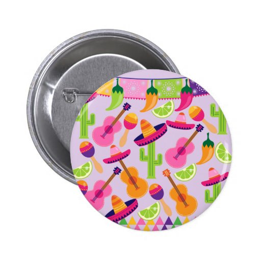 Fiesta Party Sombrero Cactus Limes Peppers Maracas Pinback Buttons