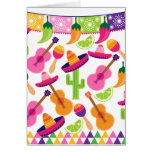 Fiesta Party Sombrero Cactus Limes Peppers Maracas Card at Zazzle