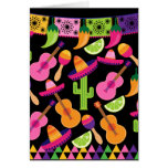 Fiesta Party Sombrero Cactus Limes Peppers Maracas Greeting Card