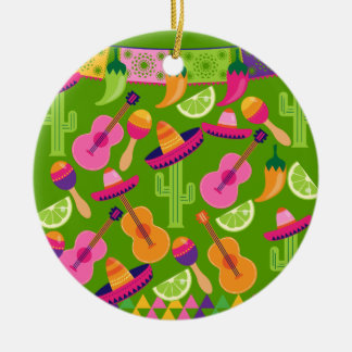 Fiesta Party Sombrero Cactus Limes Peppers Maracas Ceramic Ornament