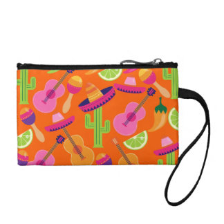 Fiesta Party Sombrero Cactus Limes Peppers Maracas Change Purse