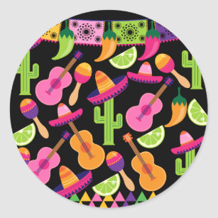 5dc6c164bd608 Fiesta Party Sombrero Cactus Limes Peppers Maracas Classic Round Sticker