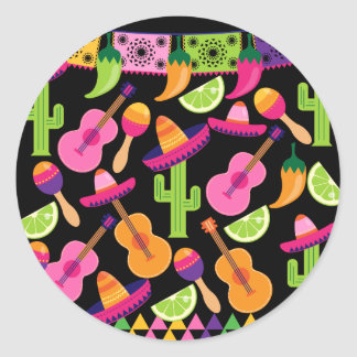 Fiesta Party Sombrero Cactus Limes Peppers Maracas Classic Round Sticker