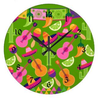 Fiesta Party Sombrero Cactus Limes Peppers Maracas Wall Clocks