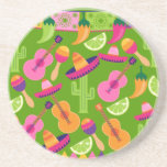 Fiesta Party Sombrero Cactus Limes Peppers Maracas Drink Coasters