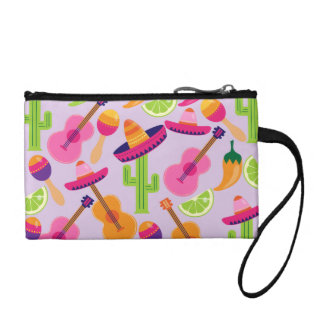 Fiesta Party Sombrero Cactus Limes Peppers Maracas Coin Purse