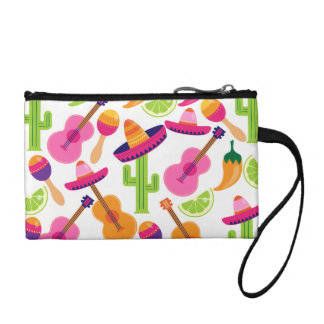 Fiesta Party Sombrero Cactus Limes Peppers Maracas Coin Wallet